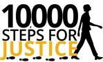 image of person walking with 10000 steps for justice text